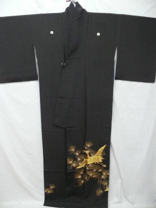 """Kunoichi """"Tomesode Kimono"""" w/Gold Emb Cranes, Pine"""