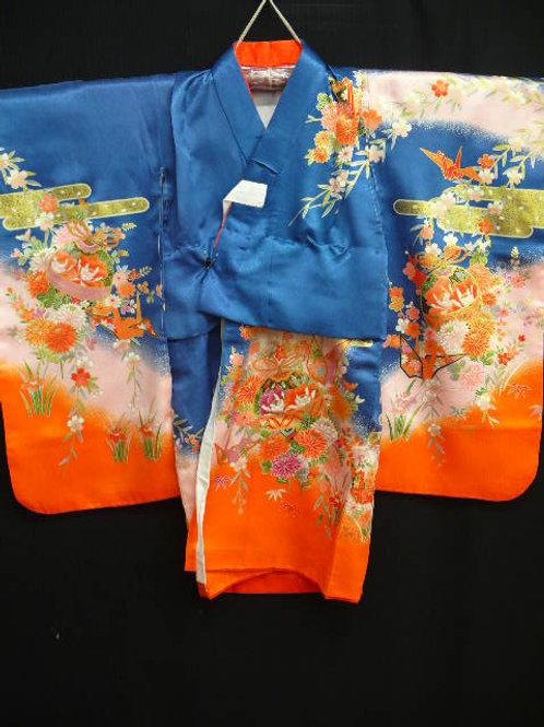 """Girl's Blue, Pink & Orange """"Kimono"""" w/ """"Sakura""""  #0105"""