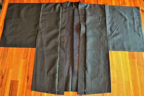Japanese Kimono, HAORI, SILK, Black, See-through