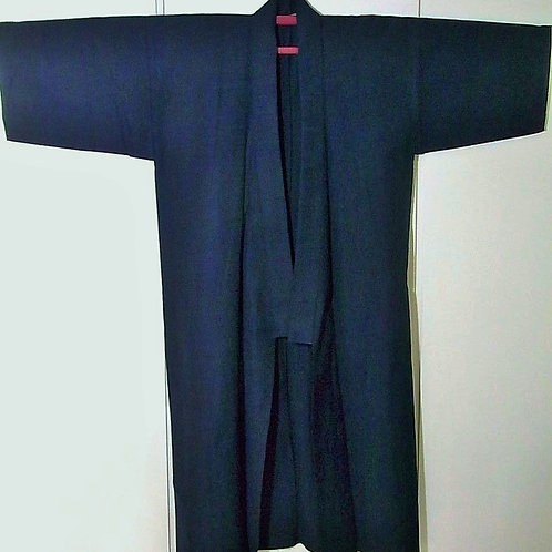 Budoka - Japanese Hitoe Wool Kimono Plain Indigo Blue #0027