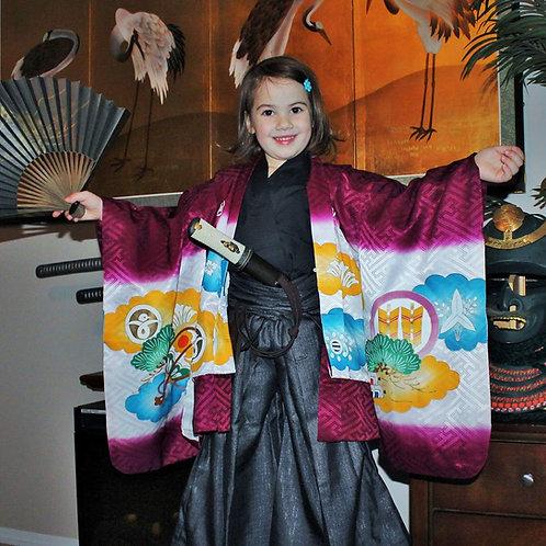 SAMURAI BOY'S KIMONO/HAORI / EMBROIDERY / SAMURAI TAKEDA KABUTO/HELMET #0040