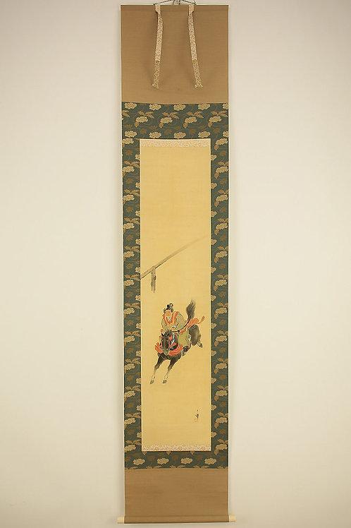 "JAPANESE HANGING SCROLL ""Samurai on Running Horse"""
