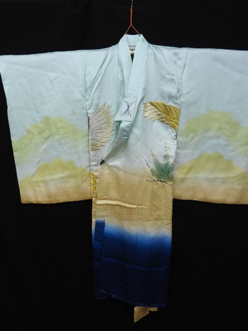 Boy's Japanese KIMONO Light Green Silk w/Gold & Silver Hawk-Mt.Fuji #1511