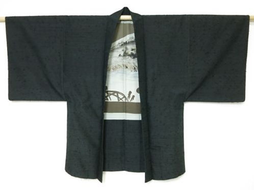 Japanese Silk Men's HAORI Dark-gray #0407