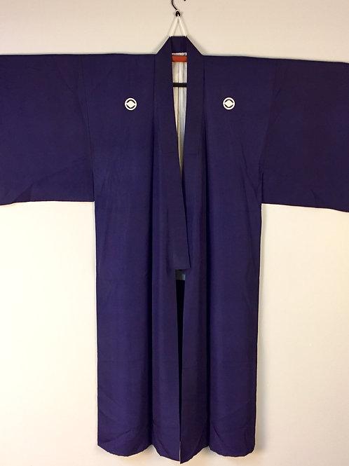 Takeda-Aizu Samurai KimonoNavy-Blue, Silk w/ 5 Aizu Mon #0390