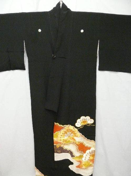 "Kunoichi ""Tomesode Kimono"" Dyed Pine Tree Motif"