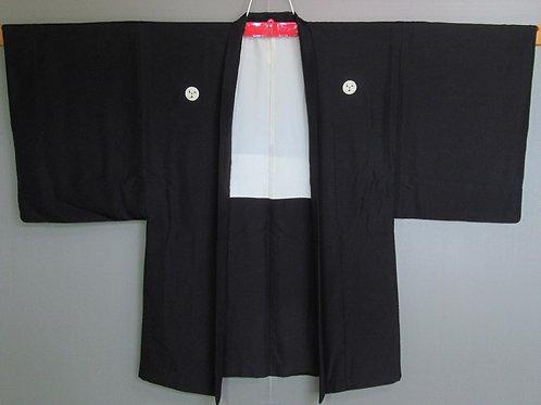 Japanese silk Haori, black solid colour w/ 5 Okinawa Clan Mon #0401