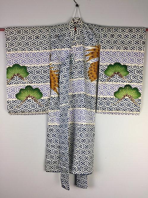 Boy's Japanese KIMONO;w/ Takeda Family Crests, Hawk & Pine Tree (Embr.) #1517