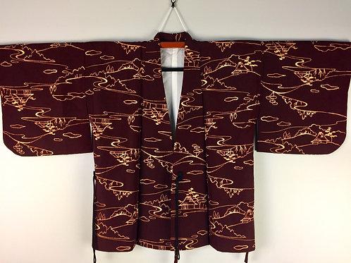 JAPANESE KIMONO / VINTAGE DOCHUGI-HAORI (Jacket)SCENERY OF HOUSE #1100