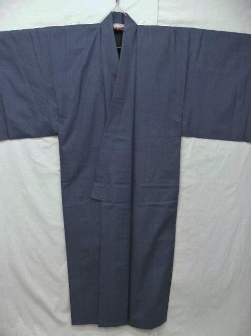 """Men's Blue-Gray Silk """"Tsumugi Kimono"""" #0109"""