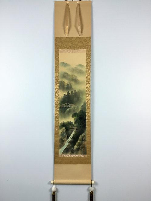 "JAPANESE HANGING SCROLL ""Sansui"" Landscape #0190"