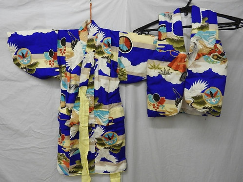 Baby Boy's Blue Wool Japanese KIMONO & Haori / Cotton padded Haori w/ Fish#1524
