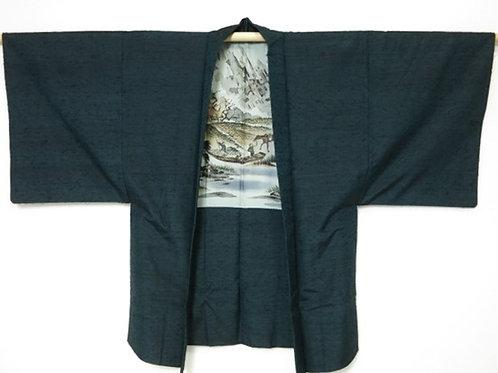 Japanese Men's HAORI Silk Dark green-blue #0099