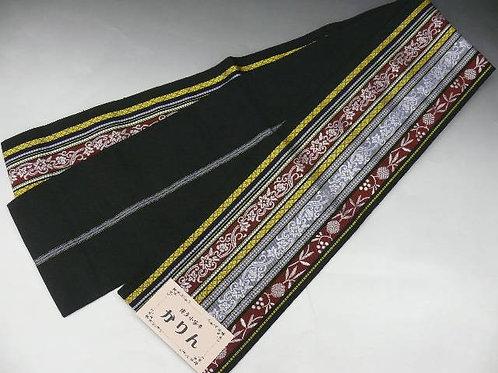 "HONCHIKU Hanhaba-obi (Half Breadth)"" Black with Woven Patterns #0359"
