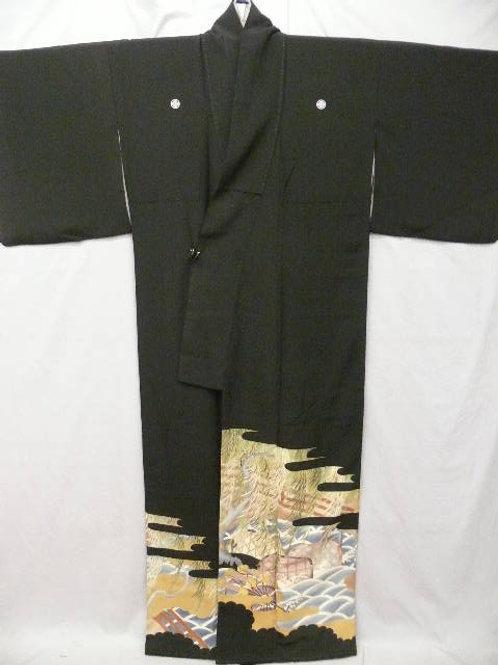 "Kunoichi""Tomesode Kimono"" Dyed & Embroidered Wheel"
