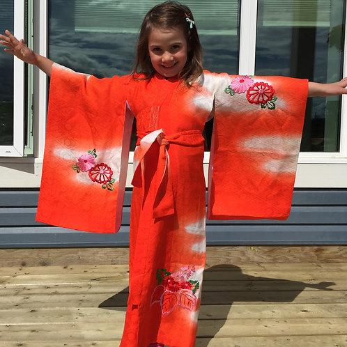 Girl's Japanese PhoenixKIMONO Vermilion/Orange Embr. w/ Phoenix #1516