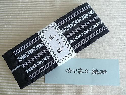 KAKU OBI for MEN Black Kenjyo Yukata KIMONO BELT #0114