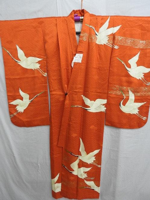Girl's Vermilion Silk Japanese KIMONO w/Dyed & Embr Cranes  #1503