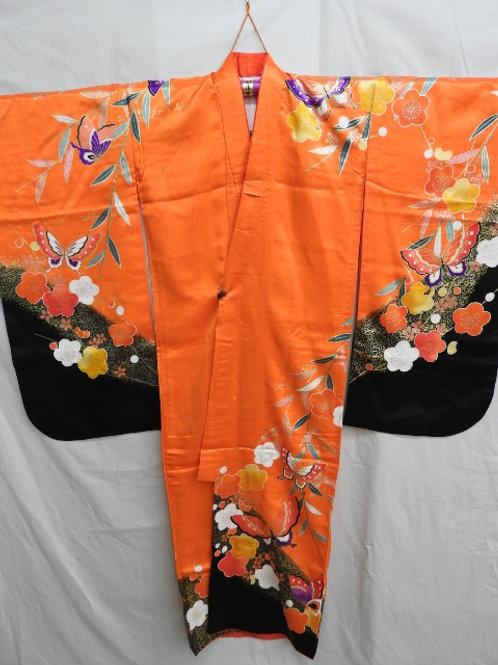 Girl's Japanese KIMONO Black & Orange w/ Dyed UME, Butterfly Patterns #1510