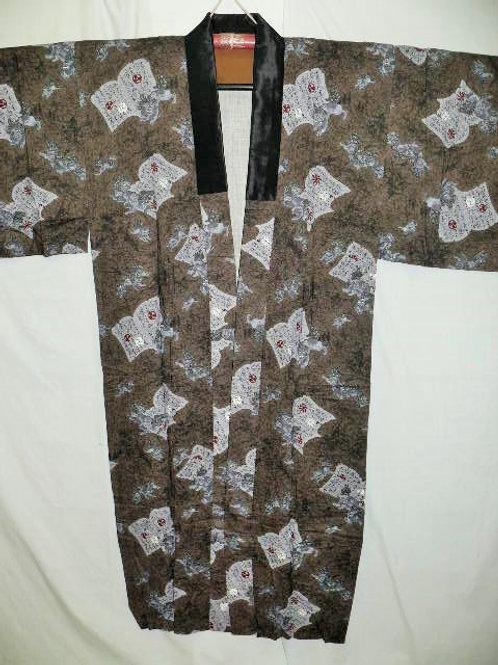 """Samurai """"Naga-juban"""" Brown Dark Gray Wool  w/Lion"""