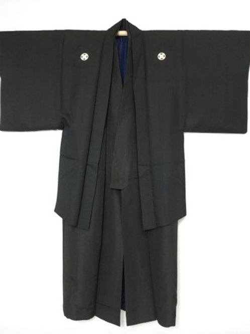 Budoka - Black Silk Kimono & Haori Set, Treasure Ship, Clan 5 Crests #0101