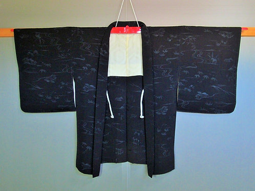 Japanese Black Haori (coat) Flower pattern #010