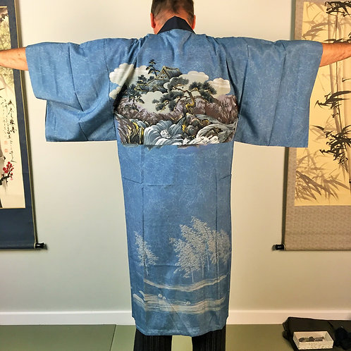 "Men's Blue-Gray ""Naga-juban"" with landscape, Mountain, Pine, House #0238"