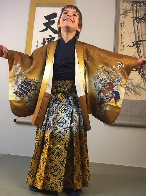 SAMURAI BOY'S HAKAMA (Andon) / Gold/Silver#0541