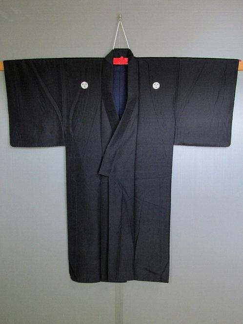 Budoka Silk Kimono, black solid color w/ 5 Okinawa Mon #0062
