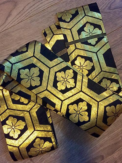 JAPANESEUnique VINTAGE DAIMYO'S KAKU OBI / WOVEN KIKKO & FLOWER #1243