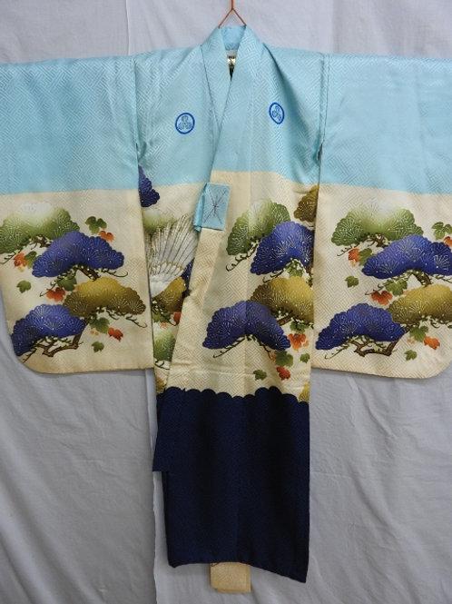 Boy's Japanese KIMONO Light Blue Silk w/ Family Crests