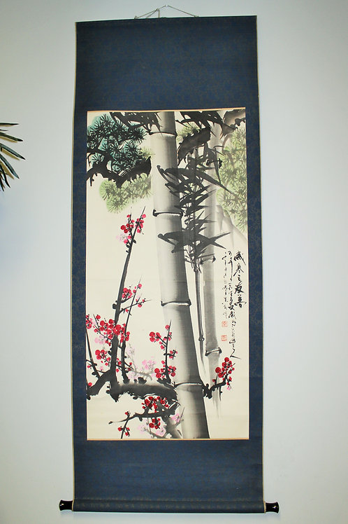 "CHINESE HANGINGSCROLL (2) ""Shochikubai / Pine,Bambooand Ume Tree"" #1705"