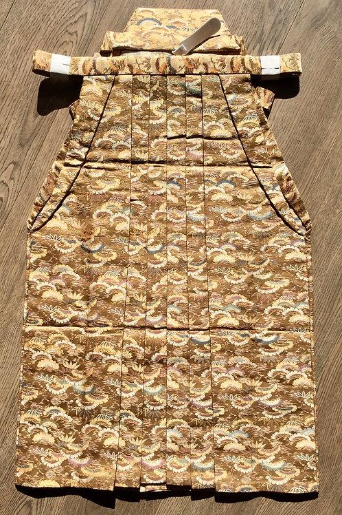 BOY'S BU-JIN WARRIOR HAKAMA (Andon) / Dark Gold / Floral patterns#0504