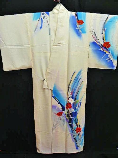 """Onna-bugeish Silk """"Rinzu Kimono"""", Flowers Patterns"""