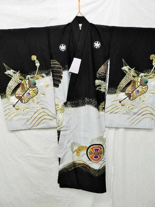 Boy's Japanese KIMONO w/5 Crests, Hawk, War Fan, UCHIDE-NO-KODZUCHI #1531
