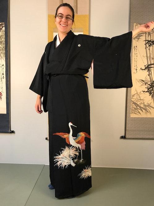 """Onna-bugeisha Silk """"Rinzu Kimono""""/ Tsuru/Crane w/ 5 Samurai Mon #1515"""