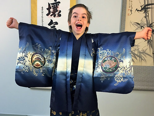 Boy's Japanese HAORI Indigo w/Family Crests, SAMURAI KABUTO (War Helmet) Motif#