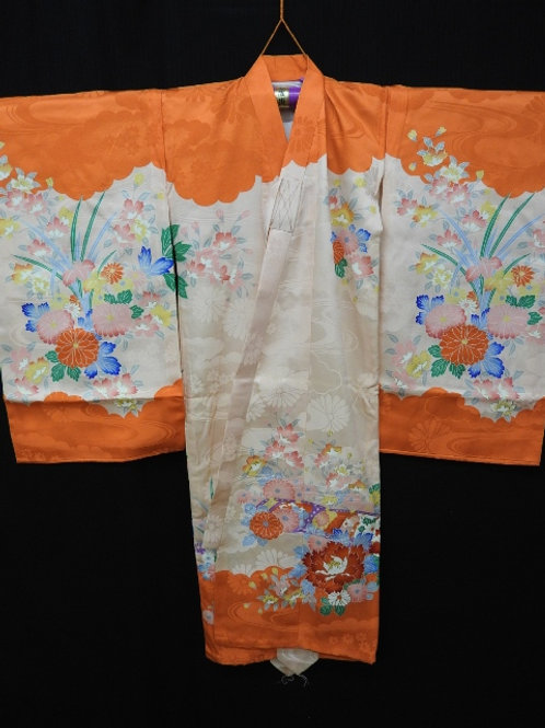 Girl's Japanese Silk KIMONO / BOTAN (Peonies) Patterns and Embr #1502