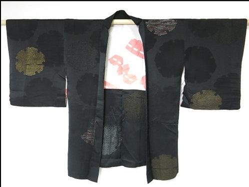 Japanese Kimono Silk HAORI Black Yukiwa #011
