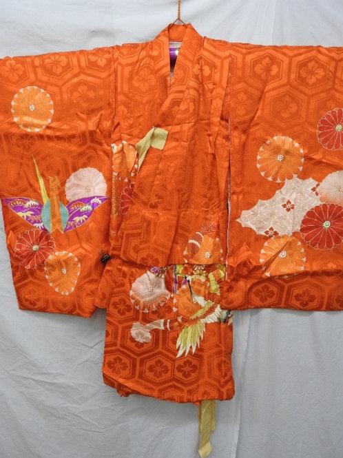Girl's Orange Silk Japanese KIMONO with Dyed KIKU (Mum), Cranes #1523