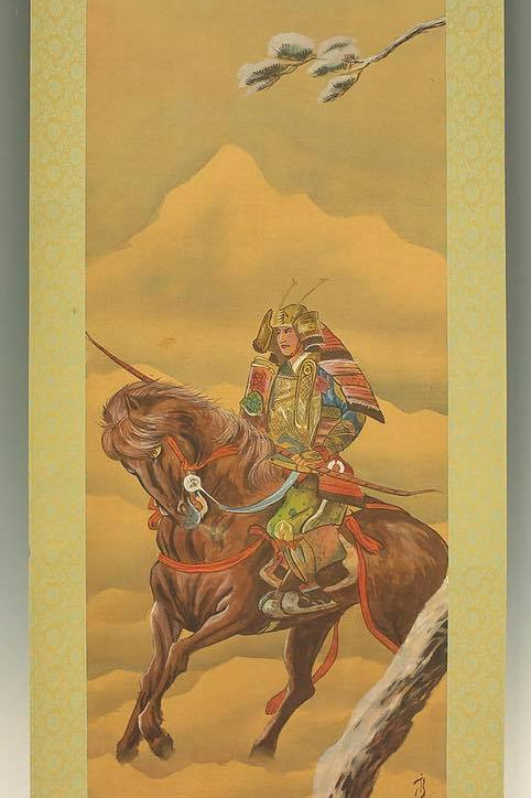 "JAPANESE HANGING SCROLL ""Samurai Riding Horse in Snow""#1723"