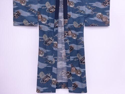 JAPANESE KIMONO / ANTIQUE YAKUZA JUBAN / TREASURES & TRADITIONAL PATTERN #0370