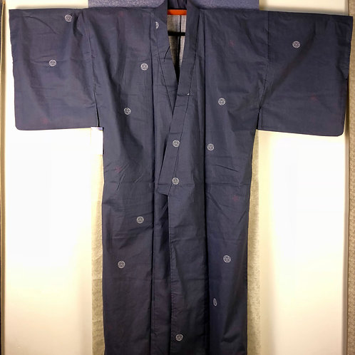 Japanese Light-Kimono YUKATA / Gay-Navy ROUNDEL W/ ABSTRAC and Mon #0394