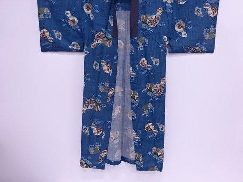 JAPANESE KIMONO / ANTIQUE YAKUZA  JUBAN / KATANA,GOURD & SCENERY#0364
