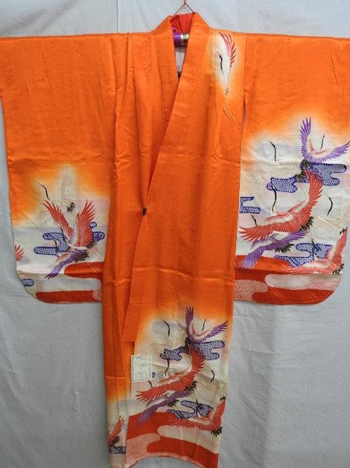 "Girl's Orange Japanese KIMONO with Dyed Cranes, Haze Patterns,""Kinkoma""#1500"