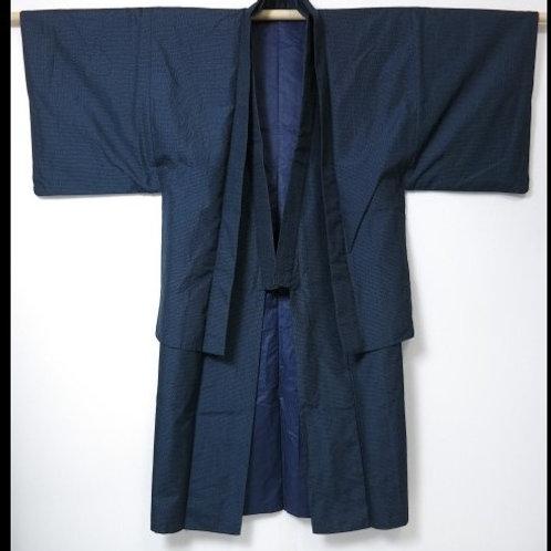 """Daimyo-gyoretsu Kimono & Haori Set, Navy, Silk""""Oshima"""", Mt.Fuji #0100"""