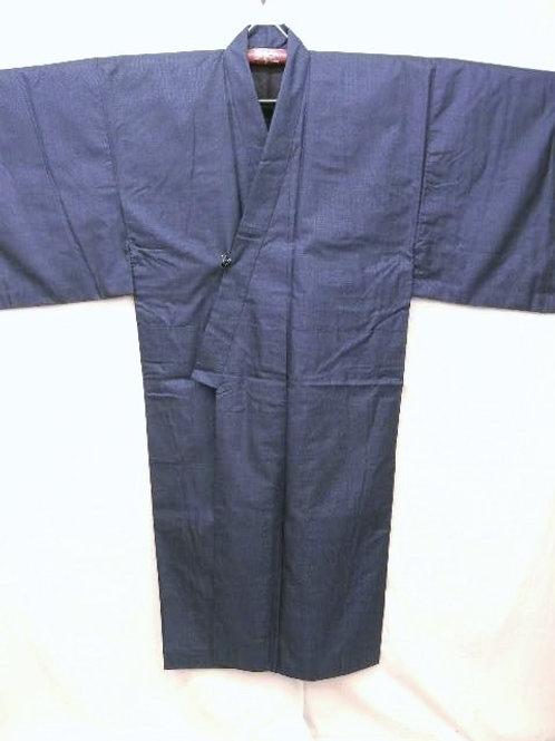 """Men's Navy & Indigo Silk """"OMESHI Kimono"""" w/ """"Kikou  #0107"""