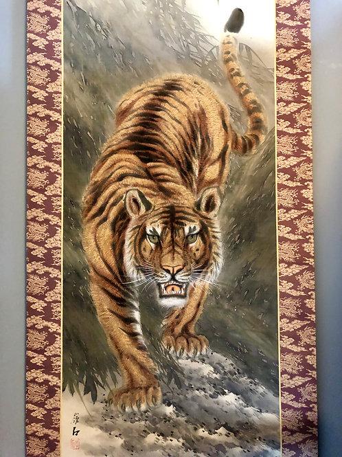 """JAPANESE HANGING SCROLL """"Tiger""""#1719"""