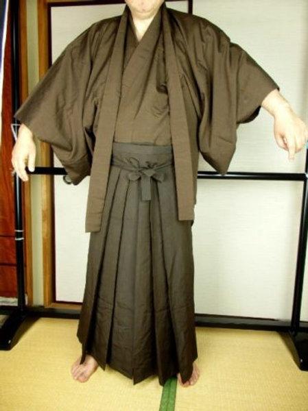 Samurai Kimono Hakama Haori SET (3 items) brown #0064
