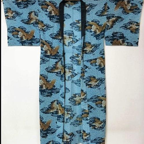 Japanese Kimono Wool Men's JUBAN Blue-Gray Hawk #0035